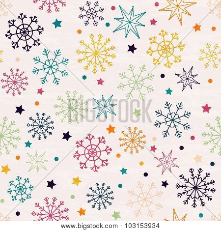 Seamless Pattern With Multicolored Snowflakes.