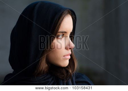 Portrait Of The Beautiful Muslim Girl In Blue Robe Looking Through Window