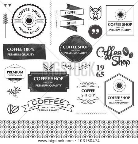 Coffee shop design elements. arrows, labels, ribbons, symbols. Editable vector illustration file.