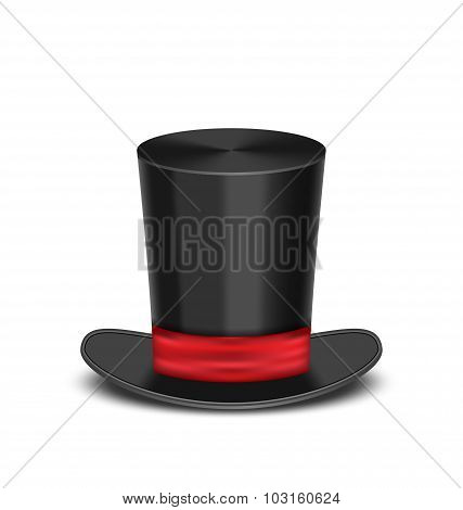 Magic cylinder hat with shadow, isolated on white background