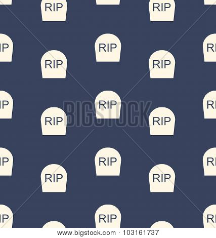 Halloween Seamless Pattern with Tombstones R.I.P.