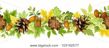 Horizontal seamless background with autumn leaves, cones and acorns. Vector illustration.