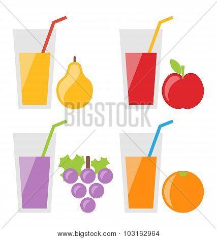Set of Fresh Fruit Juices
