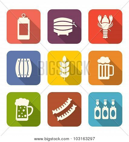 Collection Minimal Icons of Beers and Snacks