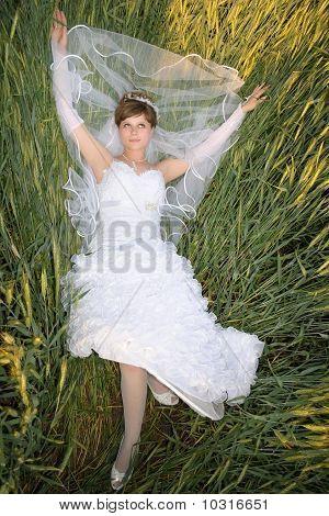 Bride In A Green Wheat