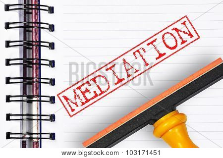Mediation Rubber Stamp On The Note Book