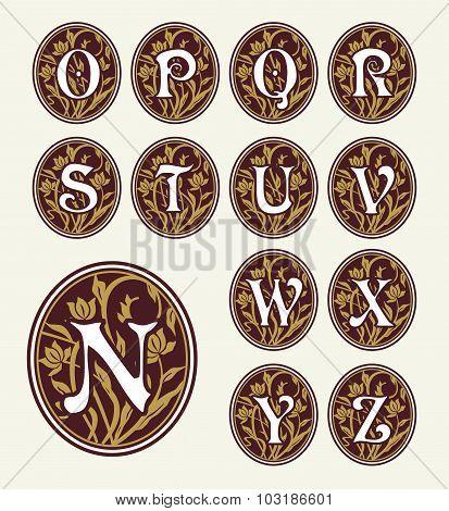 Vintage set capital letter floral Monograms and font. Art Deco, Nouveau, Modern style.