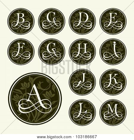 Vintage set capital letters, floral Monograms and beautiful filigree font. Art Deco, Nouveau, Modern style. poster