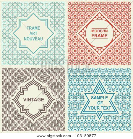Vintage Vector Set. Design Templates for Logo, Labels and Badges on Decorative Backgrounds with Simp