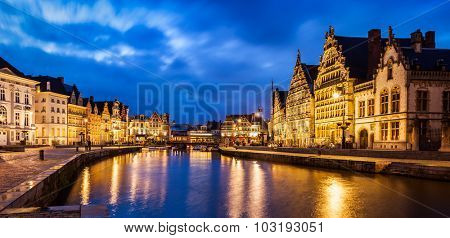 Panorama of Ghent canal, Graslei and Korenlei streets in twlight the evening. Ghent, Belgium