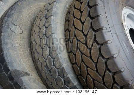Detail of old used tires