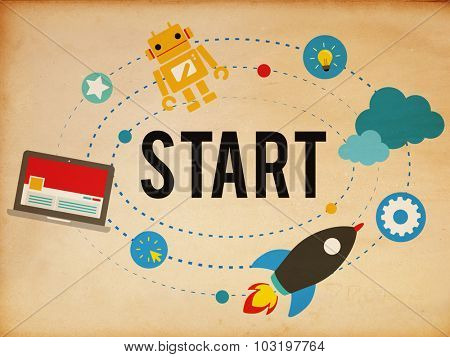 Start Mission Success Strategy Beginning Concept poster
