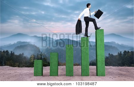 Side view of walking tradesman with jacket and suitcase against bar chart depicting growth