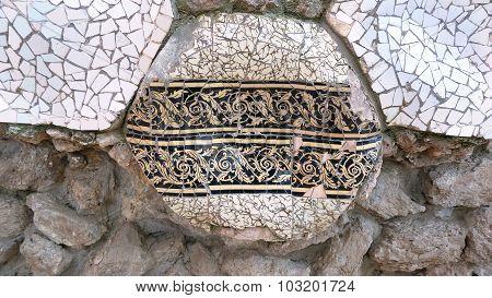 Mosaic From Ceramic Broken Tile