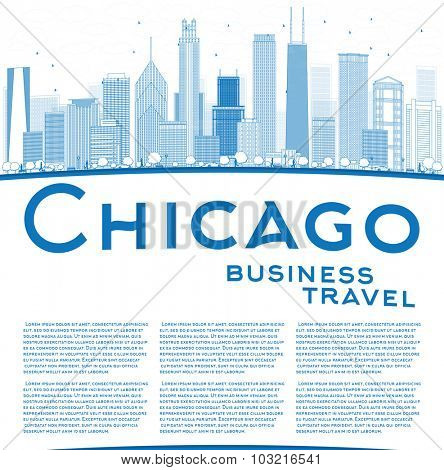 Outline Chicago city skyline with blue skyscrapers and copy space. Business travel concept.