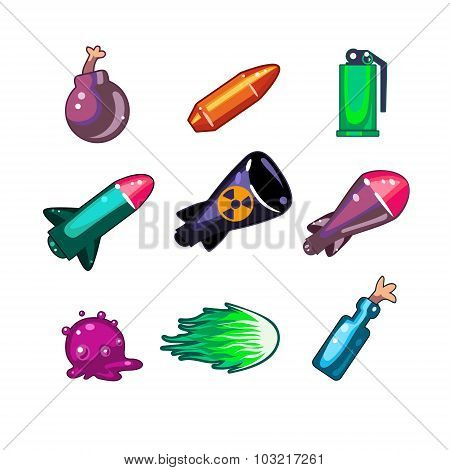 Weapon and Bombs Icons Vector Illustration Set