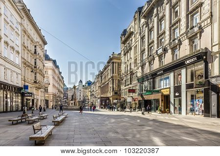 Tourists Walking Through The Graben Street