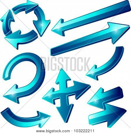 Glossy Blue Arrow Icons