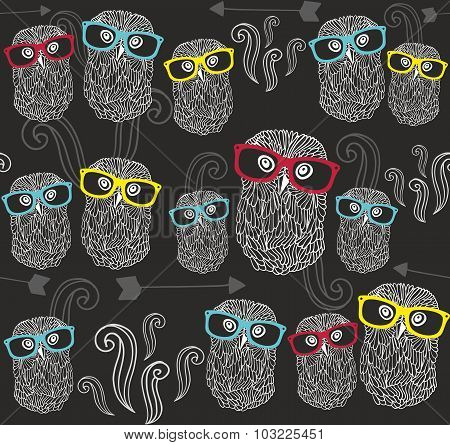 Party seamless pattern with cute owls in colorful sunglasses.