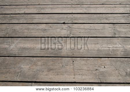 Vintage Wooden Panel With Horizontal Planks And Gaps