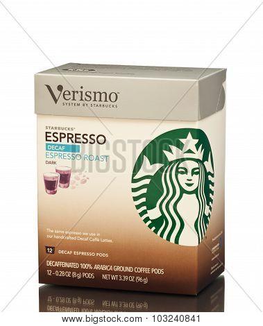 MIAMI, USA - March 30, 2015: Box of decaffeinated Starbucks Roast Espresso Verismo Pods, 12 coun