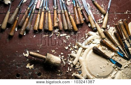 Wood Carving Tools On Worktable