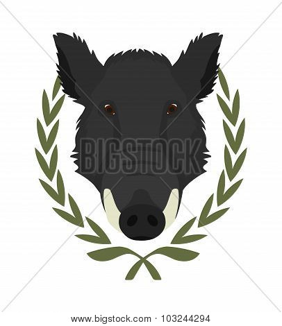 Boar head in laurel wreath. Color