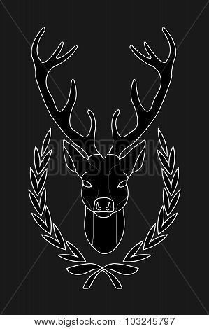 Deer head in laurel wreath. Black