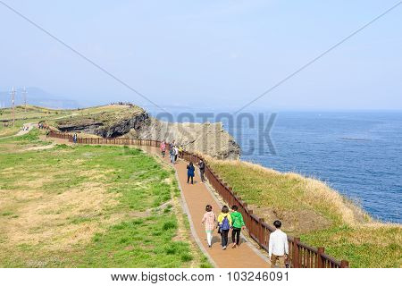 Jeju-do, Korea - April 11, 2015: Olle Walking Path No. 10 Course