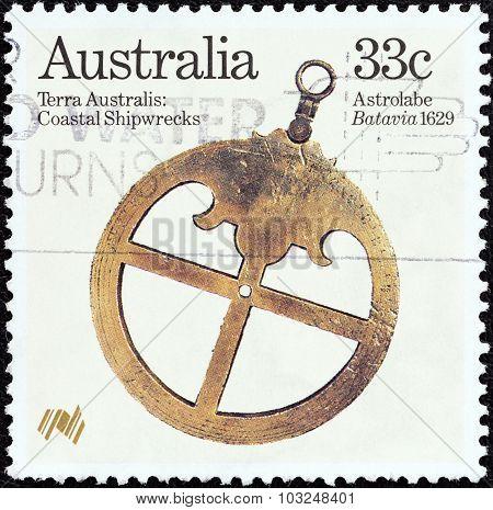 AUSTRALIA - CIRCA 1985: A stamp printed in Australia shows Astrolabe (Batavia 1629)