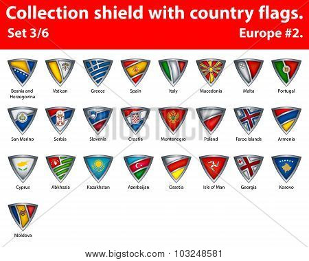 Collection shield with country flags. Part 3 of 6