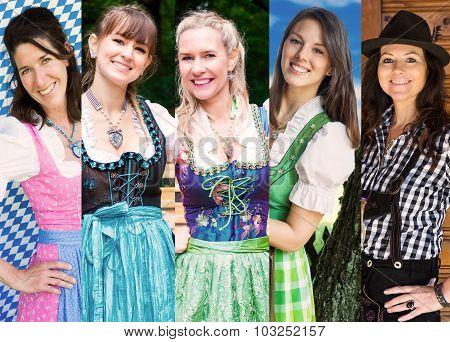Group Of Women Wearing Bavarian Dirndl