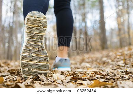 Woman Jogging In The Forest In Autumn