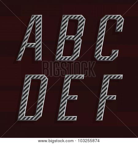 Carbon fiber Alphabet Vector Font. Part 1 of 6. Letters A - F.