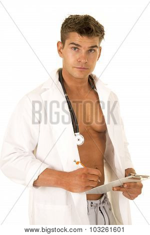 Doctor With Open Jacket And Clipboard Look