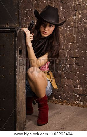 The Beautiful sheriff woman on wall background poster