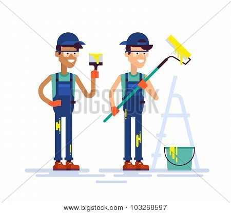 Two house painters holding brush and roller. Flat.