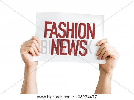 Fashion News placard isolated on white