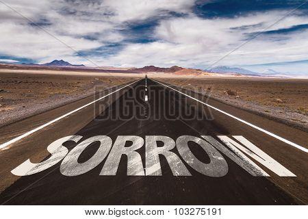 Sorrow written on desert road