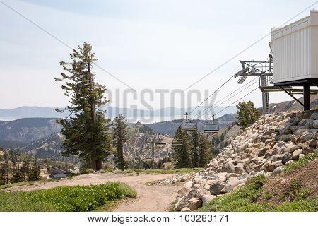 Idle Ski Lift In Summer