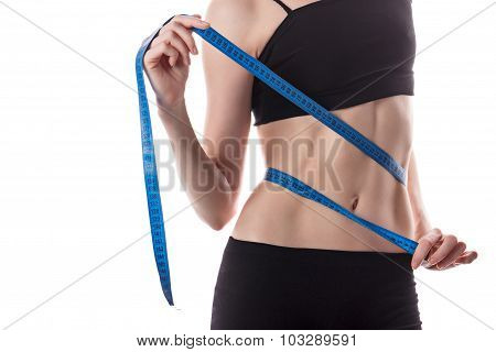 Girl Measures The Waist. Weight Loss.