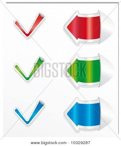 Vector positive checkmark stickers and arrows. Image for design and more. poster