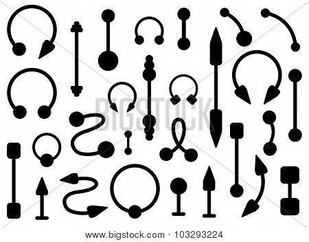 Set of body piercings jewelry. Silhouettes