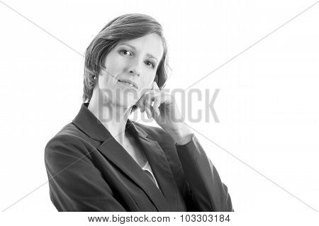 Young Businesswoman Looking Thoughtfully At You
