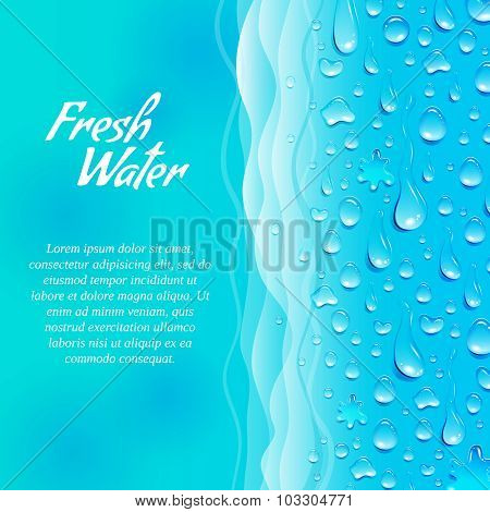Fresh clean natural water consumption healthy lifestyle promotion decorative informative ecological banner ocean blue abstract vector illustration poster
