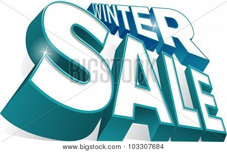 Dynamic 3D Winter Sale Sign.