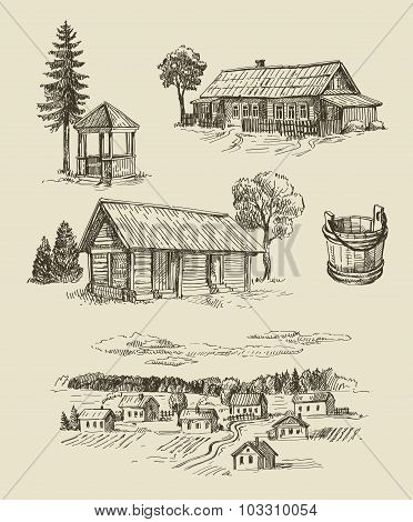 farm and vintage hand drawn