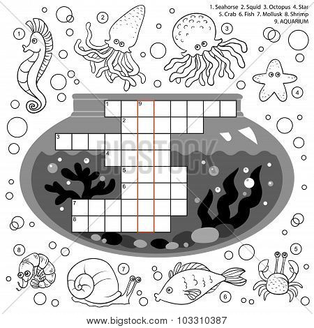 Vector Colorless Crossword, Education Game For Children About Sea World