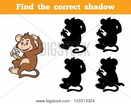 Game for children: Find the correct shadow (little monkey with a banana) poster