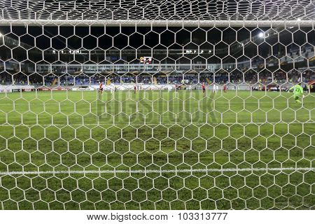 View Of The Uefa Europa League Game Between Qabala And Paok, Behind The Net, In Baku, Azerbaijan.